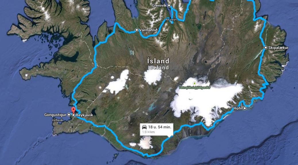 Kaart met route 2014 geografisch